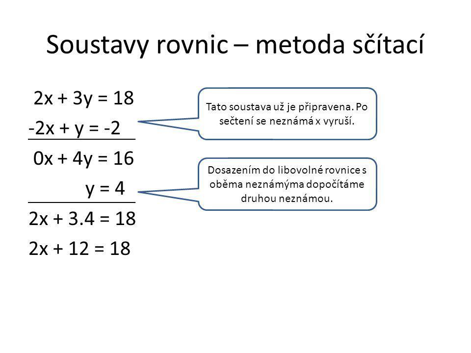 Soustavy rovnic – metoda sčítací 2x + 3y = 18 -2x + y = -2 0x + 4y = 16 y = 4 2x + 3.4 = 18 2x + 12 = 18 Tato soustava už je připravena.