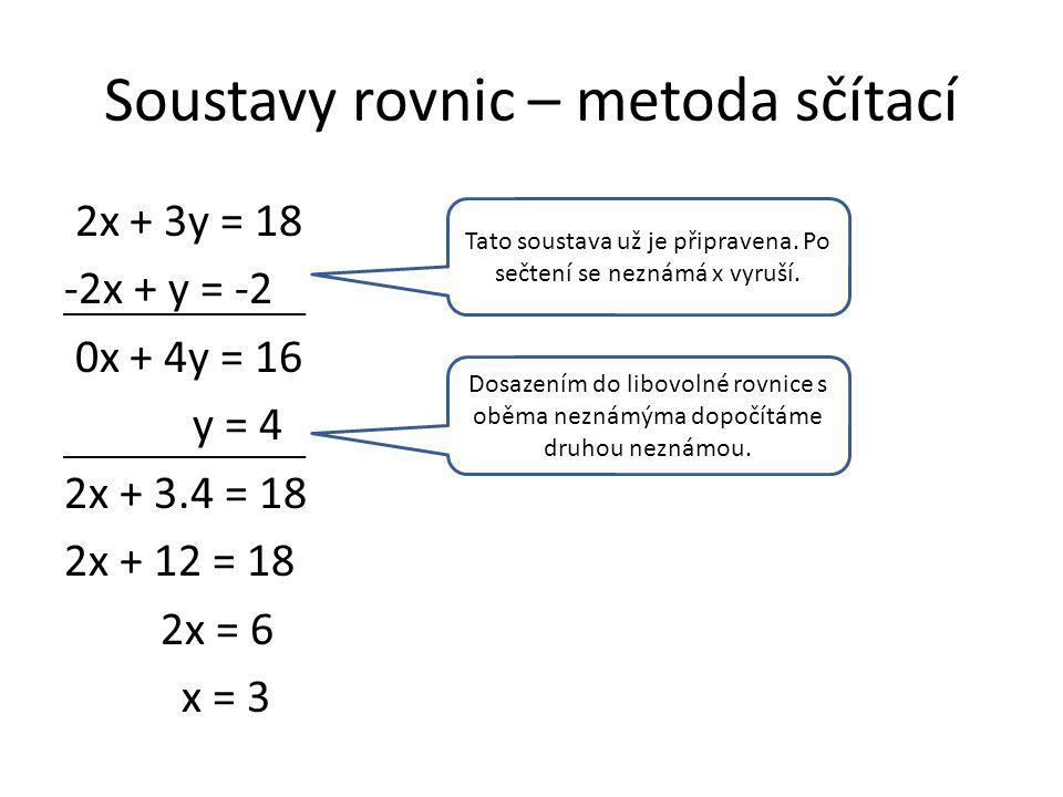 Soustavy rovnic – metoda sčítací 2x + 3y = 18 -2x + y = -2 0x + 4y = 16 y = 4 2x + 3.4 = 18 2x + 12 = 18 2x = 6 x = 3 Tato soustava už je připravena.