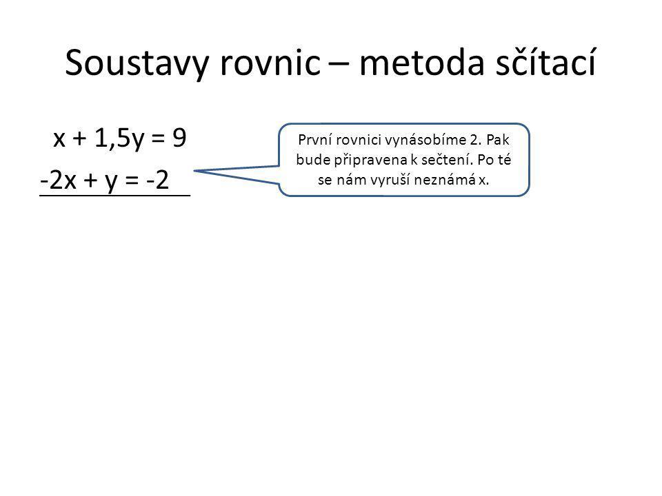 Soustavy rovnic – metoda sčítací 2x + 3y = 18 -2x + y = -2