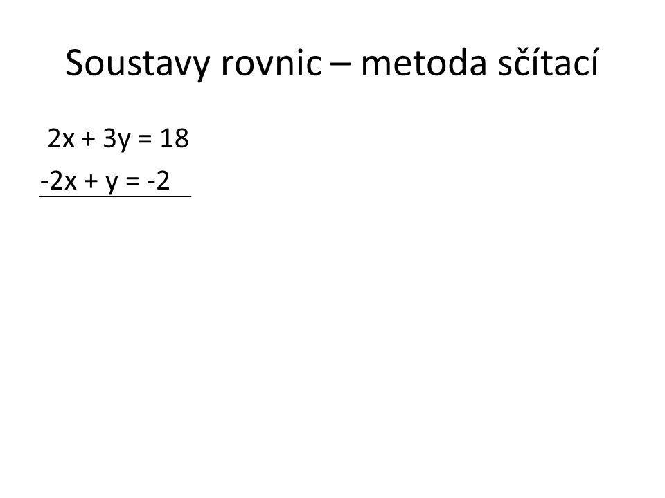 Soustavy rovnic – metoda sčítací 2x + 3y = 18 -2x + y = -2 Tato soustava už je připravena.