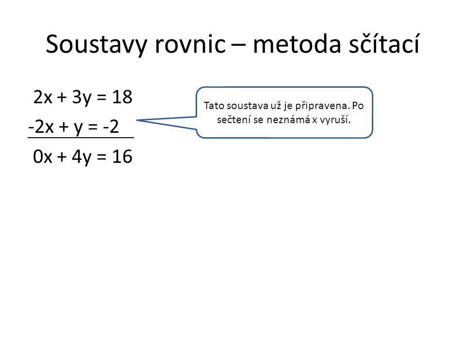 Soustavy rovnic – metoda sčítací 2x + 3y = 18 -2x + y = -2 0x + 4y = 16 y = 4 Tato soustava už je připravena.