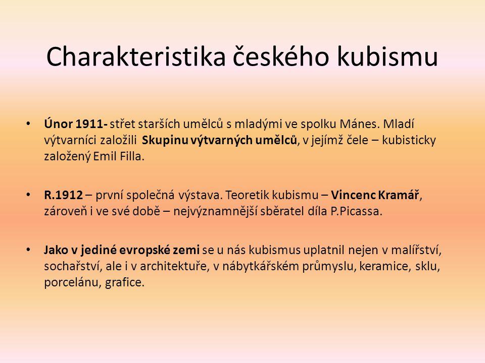 Charakteristika českého kubismu Únor 1911- střet starších umělců s mladými ve spolku Mánes. Mladí výtvarníci založili Skupinu výtvarných umělců, v jej