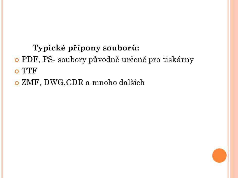 Typické přípony souborů: PDF, PS- soubory původně určené pro tiskárny TTF ZMF, DWG,CDR a mnoho dalších
