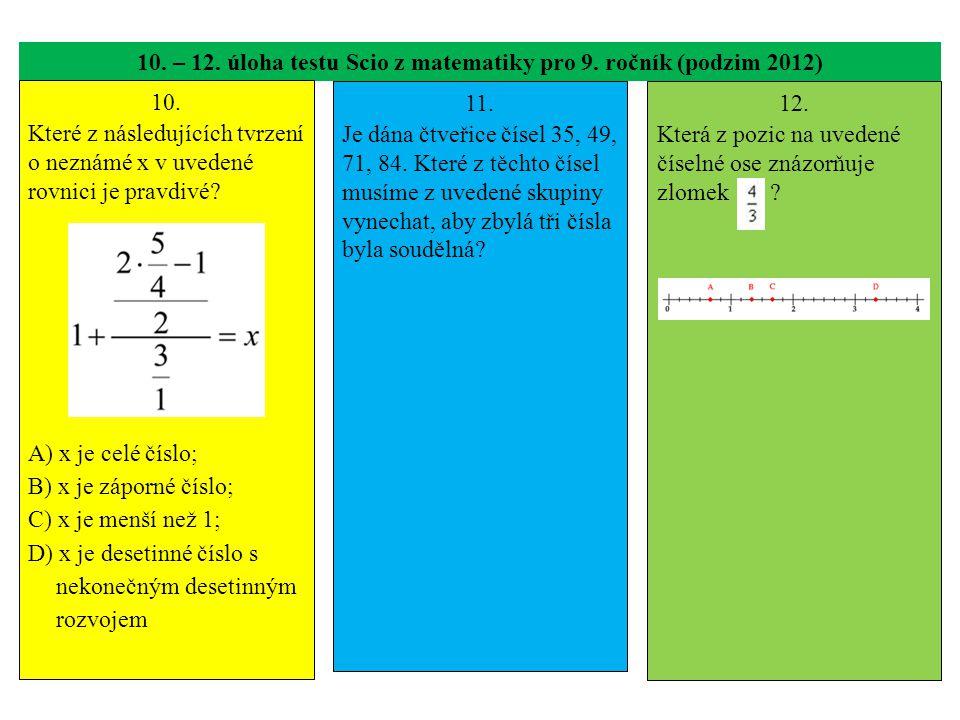 10. – 12. úloha testu Scio z matematiky pro 9. ročník (podzim 2012) 10. Které z následujících tvrzení o neznámé x v uvedené rovnici je pravdivé? A) x