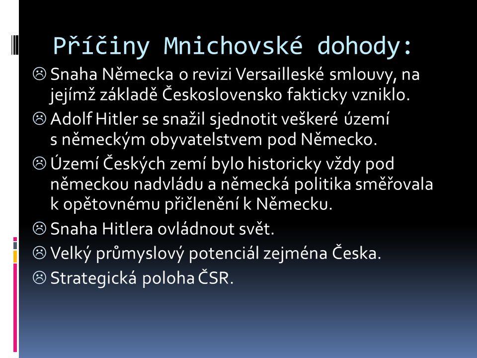 Příčiny Mnichovské dohody:  Snaha Německa o revizi Versailleské smlouvy, na jejímž základě Československo fakticky vzniklo.  Adolf Hitler se snažil