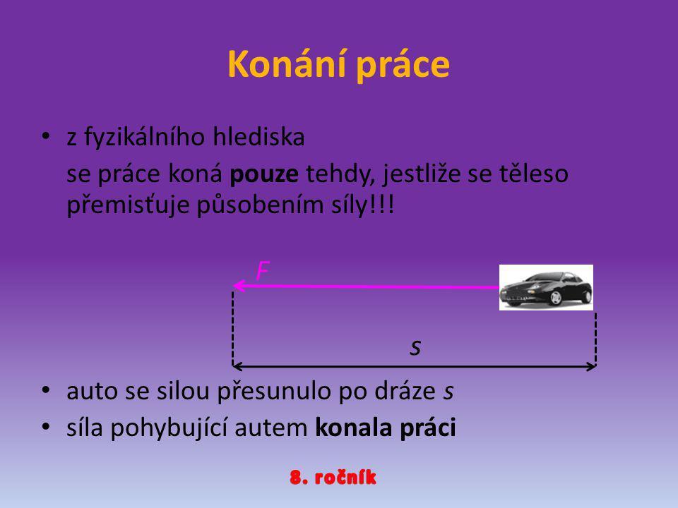 F s = 0 m K posunu auta silou po dráze nedošlo. Nekonal jsem práci, přestože jsem použil sílu!!!