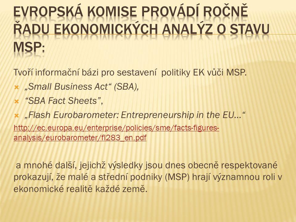 Tvoří informační bázi pro sestavení politiky EK vůči MSP.