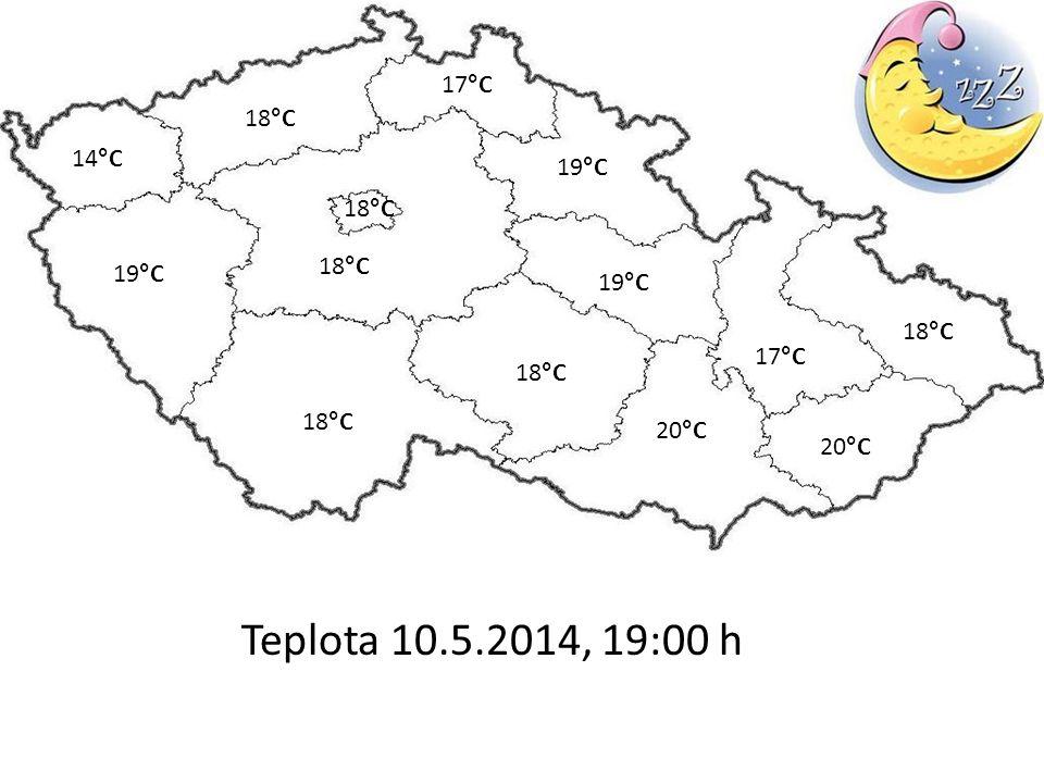Teplota 10.5.2014, 19:00 h 20°C 18°C 14°C 19°C 17°C 18°C 17°C 19°C 18°C 20°C