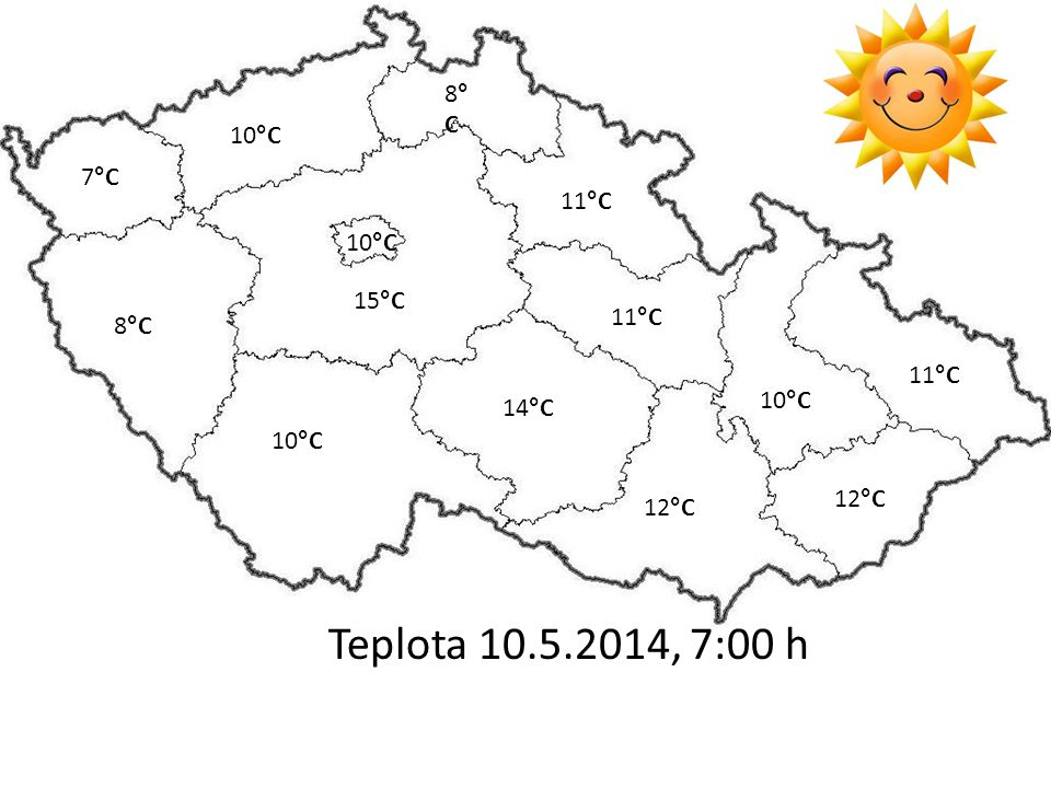 Teplota 10.5.2014, 7:00 h 10°C 12°C 7°C 11°C 8°C8°C 10°C 11°C 8°C 10°C 15°C 10°C 14°C 12°C
