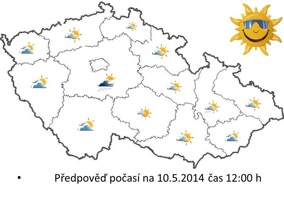 Předpověď počasí na 10.5.2014 čas 12:00 h