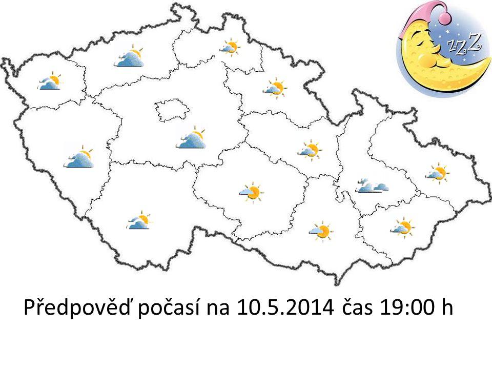 Předpověď počasí na 10.5.2014 čas 19:00 h