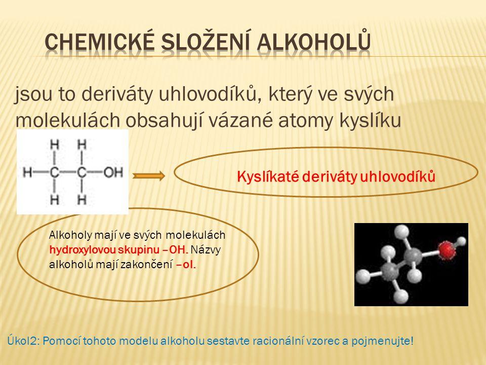 jsou to deriváty uhlovodíků, který ve svých molekulách obsahují vázané atomy kyslíku Kyslíkaté deriváty uhlovodíků Alkoholy mají ve svých molekulách h