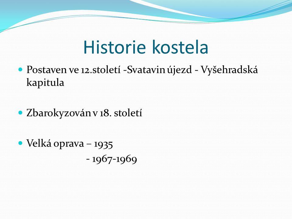 Historie kostela Postaven ve 12.století -Svatavin újezd - Vyšehradská kapitula Zbarokyzován v 18. století Velká oprava – 1935 - 1967-1969