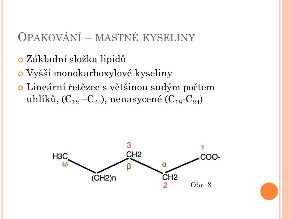 O PAKOVÁNÍ – MASTNÉ KYSELINY Základní složka lipidů Vyšší monokarboxylové kyseliny Lineární řetězec s většinou sudým počtem uhlíků, (C 12 –C 24 ), nenasycené (C 18 -C 24 ) Obr.