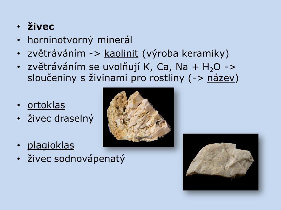 živec horninotvorný minerál zvětráváním -> kaolinit (výroba keramiky) zvětráváním se uvolňují K, Ca, Na + H 2 O -> sloučeniny s živinami pro rostliny