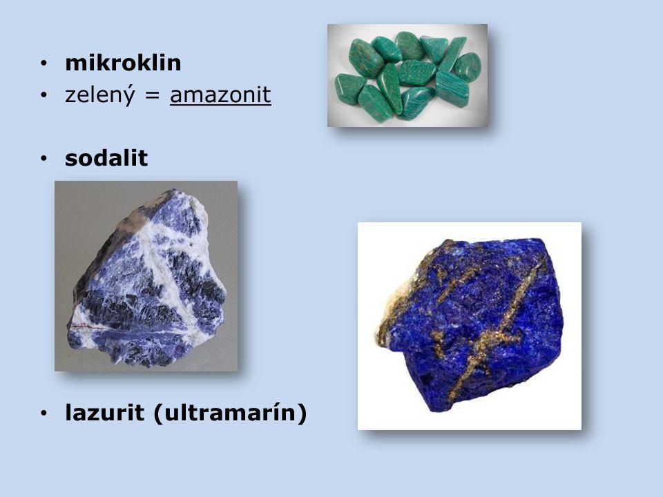 mikroklin zelený = amazonit sodalit lazurit (ultramarín)