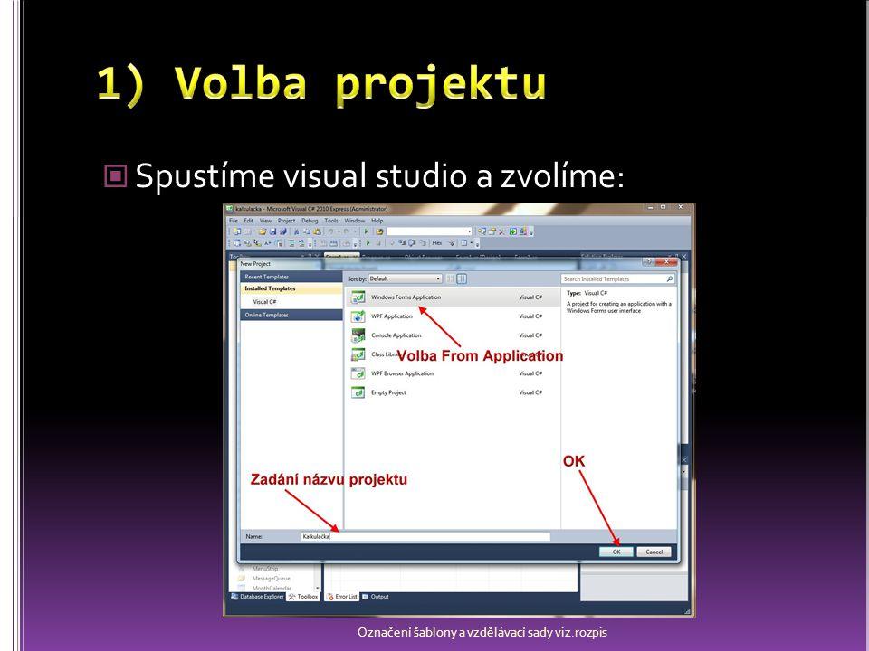 Přizpůsobíme se pracovní plochu, aby bylo zobrazené: Solution Explorer – soubory projektu Toolbox – ovládací prvky Properties – Vlastnosti Error list – chyby a varování Form – prázdný formulář Chybí li některý z panelů, pak jej lze zobrazit v nabídce: View / Other Windows Označení šablony a vzdělávací sady viz.rozpis