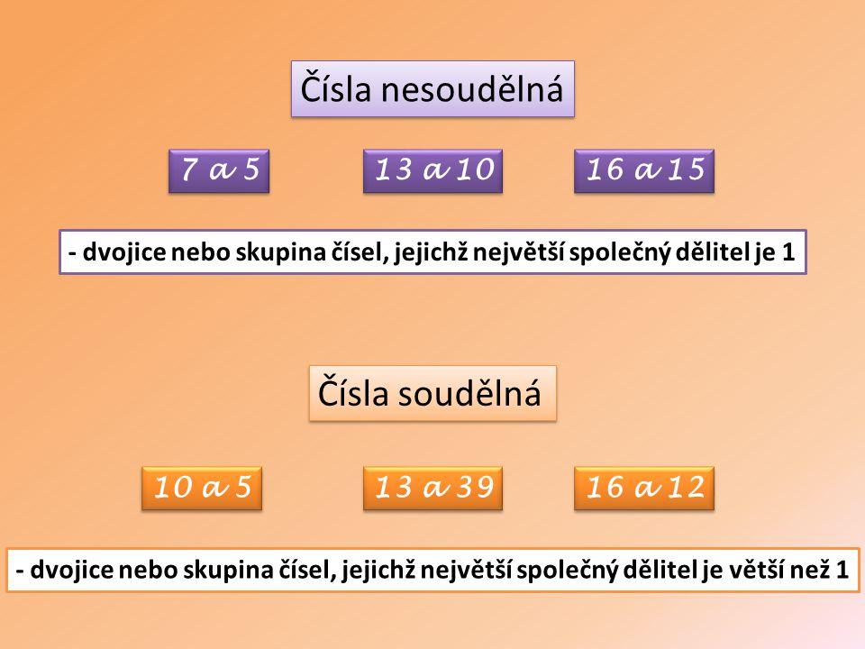 - dvojice nebo skupina čísel, jejichž největší společný dělitel je 1 Čísla nesoudělná - dvojice nebo skupina čísel, jejichž největší společný dělitel je větší než 1 Čísla soudělná 7 a 5 13 a 10 16 a 15 10 a 5 13 a 39 16 a 12