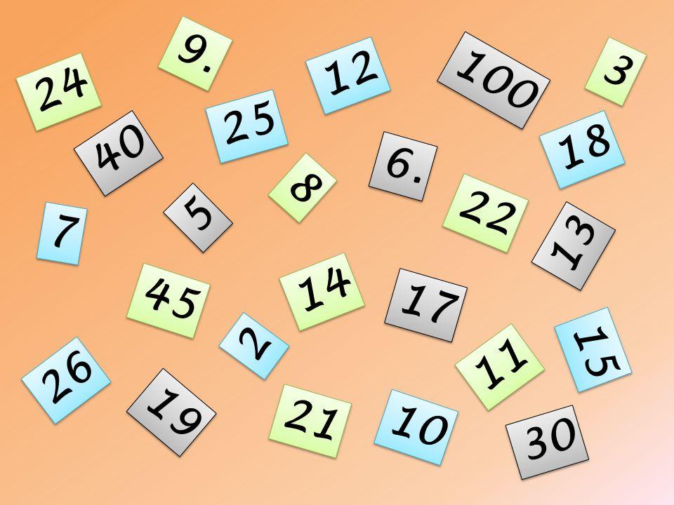 9. 2 2 22 15 45 17 3 3 6. 7 7 14 12 8 8 11 5 5 10 13 26 25 100 40 19 18 30 21 24