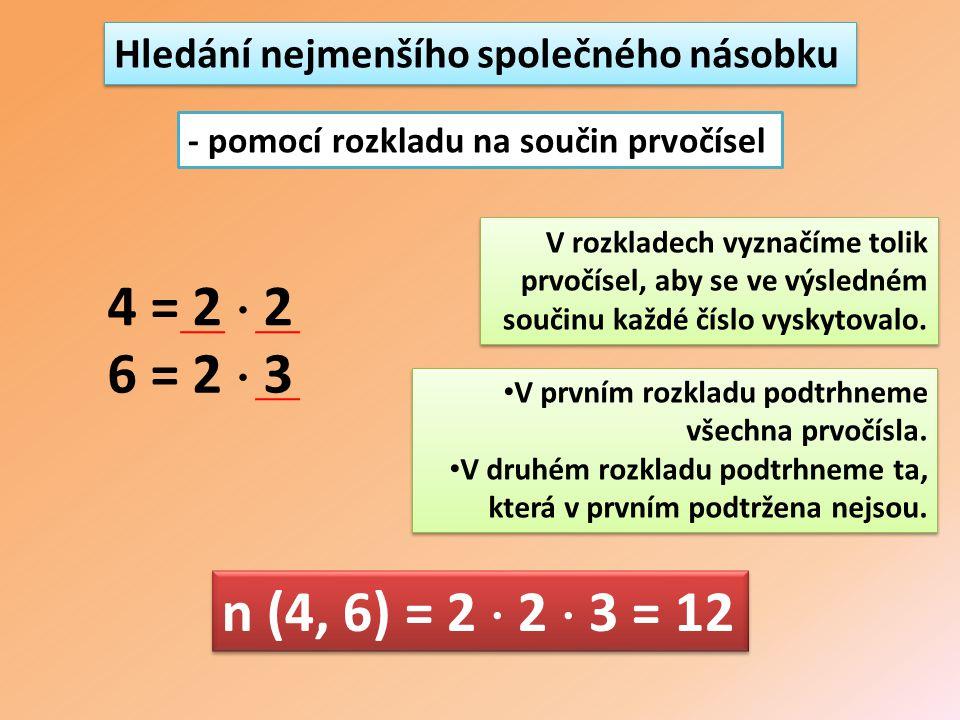 Hledání nejmenšího společného násobku - pomocí rozkladu na součin prvočísel 4 = 2  2 6 = 2  3 V rozkladech vyznačíme tolik prvočísel, aby se ve výsledném součinu každé číslo vyskytovalo.
