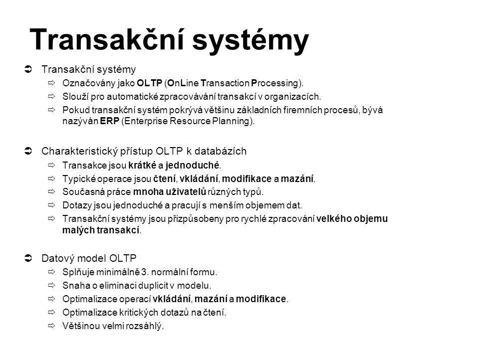 Transakční systémy  Transakční systémy  Označovány jako OLTP (OnLine Transaction Processing).  Slouží pro automatické zpracovávání transakcí v orga
