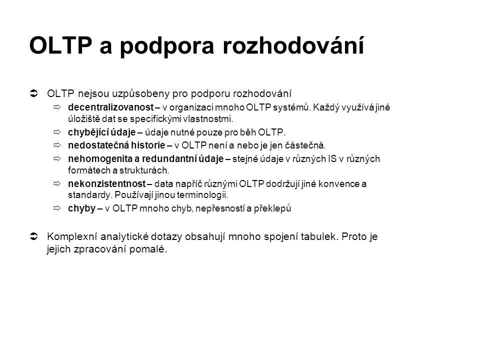 OLTP a podpora rozhodování  OLTP nejsou uzpůsobeny pro podporu rozhodování  decentralizovanost – v organizaci mnoho OLTP systémů. Každý využívá jiné