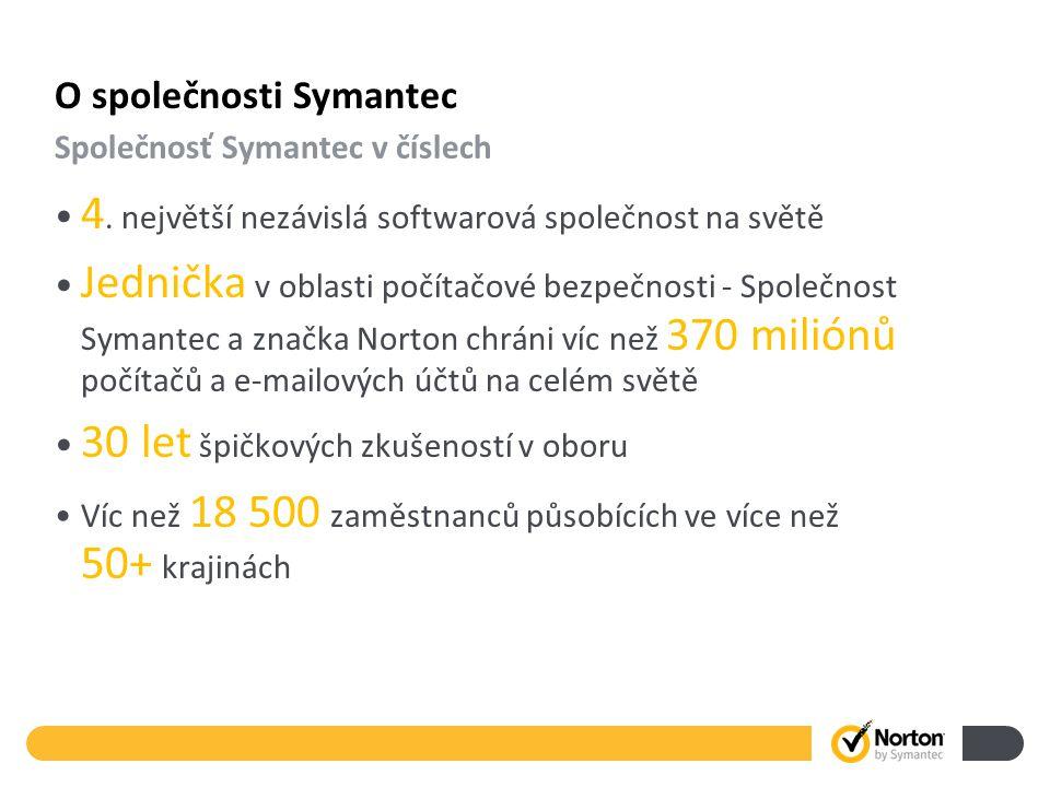 O společnosti Symantec 4. největší nezávislá softwarová společnost na světě Jednička v oblasti počítačové bezpečnosti - Společnost Symantec a značka N
