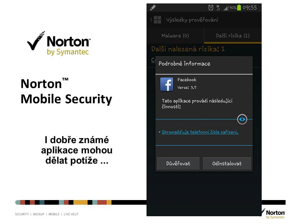 Norton chrání, na čem nejvíc záleží. Norton ™ Mobile Security I dobře známé aplikace mohou dělat potíže...
