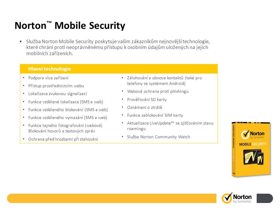 Norton ™ Mobile Security Služba Norton Mobile Security poskytuje vašim zákazníkům nejnovější technologie, které chrání proti neoprávněnému přístupu k osobním údajům uložených na jejich mobilních zařízeních.