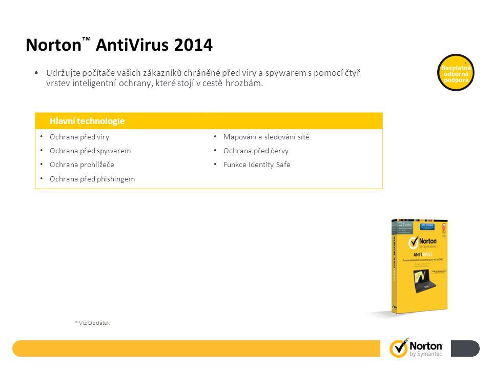 Norton ™ AntiVirus 2014 Udržujte počítače vašich zákazníků chráněné před viry a spywarem s pomocí čtyř vrstev inteligentní ochrany, které stojí v cestě hrozbám.