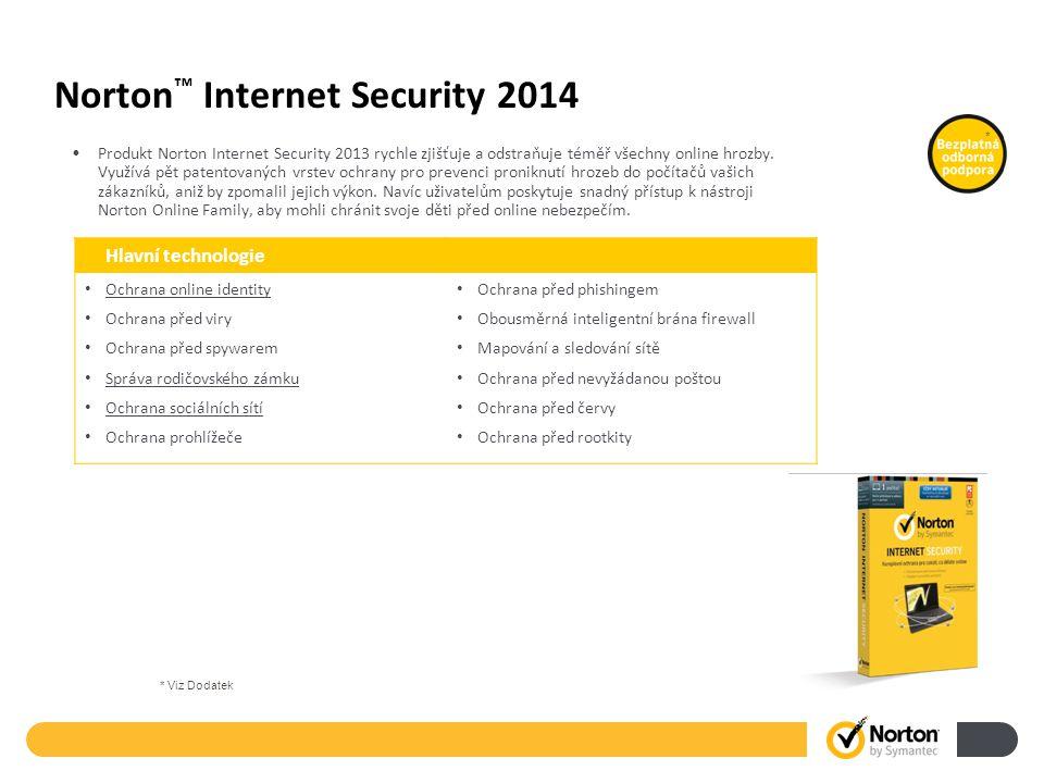 Norton ™ Internet Security 2014 Produkt Norton Internet Security 2013 rychle zjišťuje a odstraňuje téměř všechny online hrozby. Využívá pět patentovan