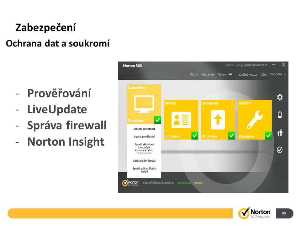 Zabezpečení 43 -Prověřování -LiveUpdate -Správa firewall -Norton Insight Ochrana dat a soukromí