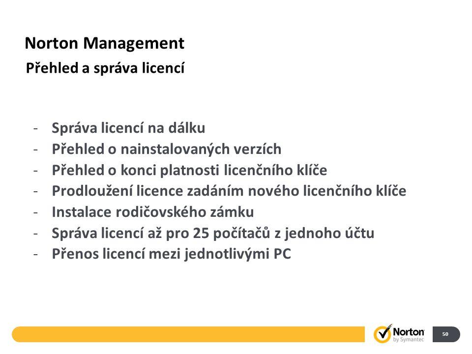 Norton Management 50 Přehled a správa licencí -Správa licencí na dálku -Přehled o nainstalovaných verzích -Přehled o konci platnosti licenčního klíče -Prodloužení licence zadáním nového licenčního klíče -Instalace rodičovského zámku -Správa licencí až pro 25 počítačů z jednoho účtu -Přenos licencí mezi jednotlivými PC
