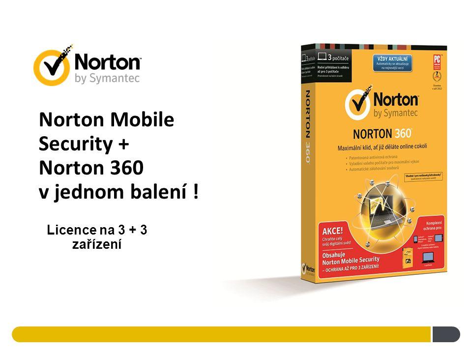 Norton Mobile Security + Norton 360 v jednom balení ! Licence na 3 + 3 zařízení