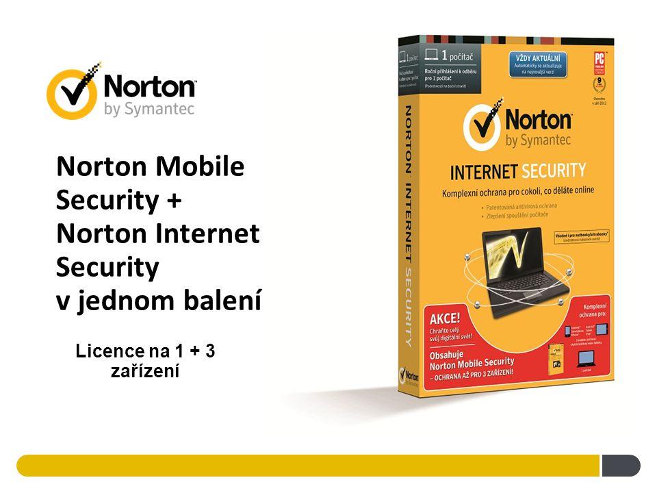Norton Mobile Security + Norton Internet Security v jednom balení ! Licence na 1 + 3 zařízení
