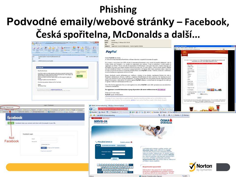 Phishing Podvodné emaily/webové stránky – Facebook, Česká spořitelna, McDonalds a další...