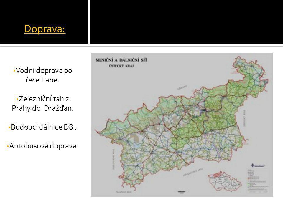 Doprava: Vodní doprava po řece Labe. Železniční tah z Prahy do Drážďan. Budoucí dálnice D8. Autobusová doprava.