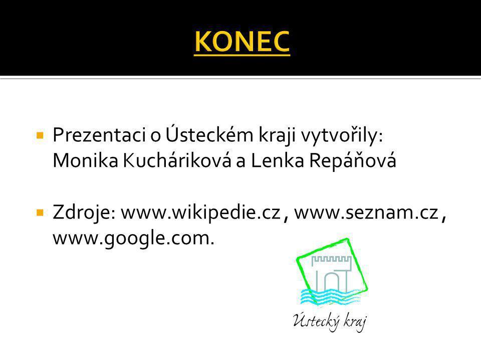  Prezentaci o Ústeckém kraji vytvořily: Monika Kucháriková a Lenka Repáňová  Zdroje: www.wikipedie.cz, www.seznam.cz, www.google.com.
