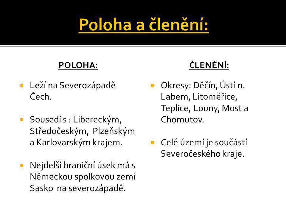 POLOHA:  Leží na Severozápadě Čech.  Sousedí s : Libereckým, Středočeským, Plzeňským a Karlovarským krajem.  Nejdelší hraniční úsek má s Německou s