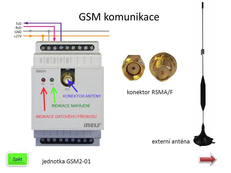 GSM komunikace konektor RSMA/F externí anténa jednotka GSM2-01 Zpět