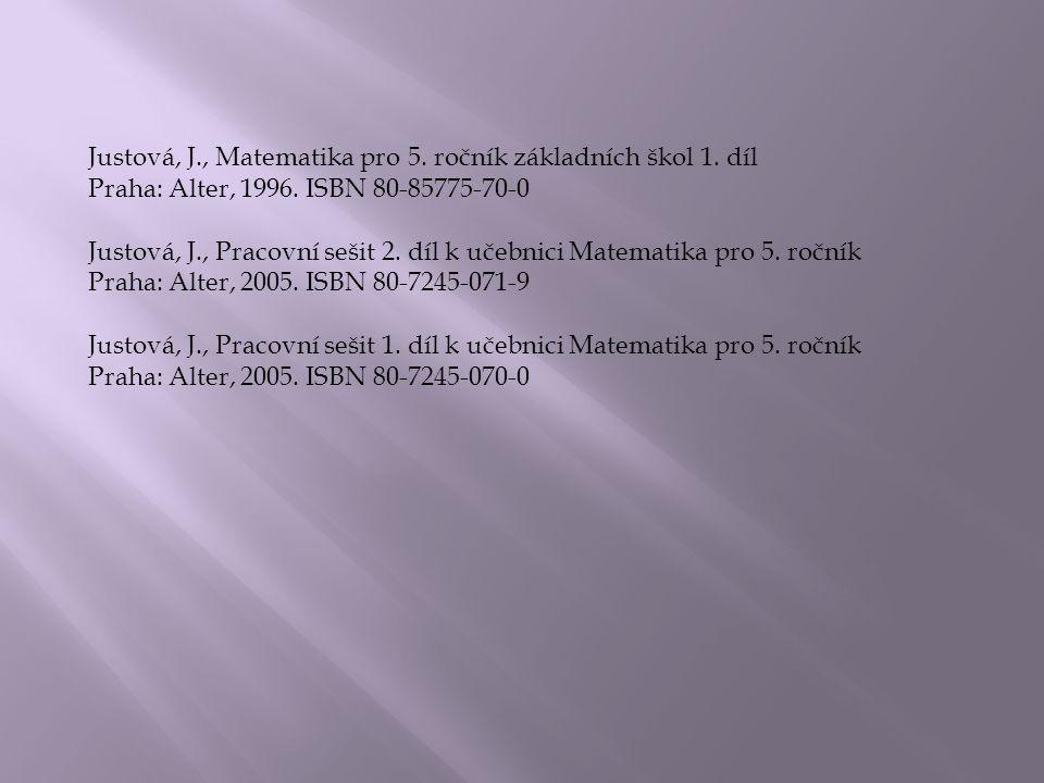 Justová, J., Matematika pro 5. ročník základních škol 1.