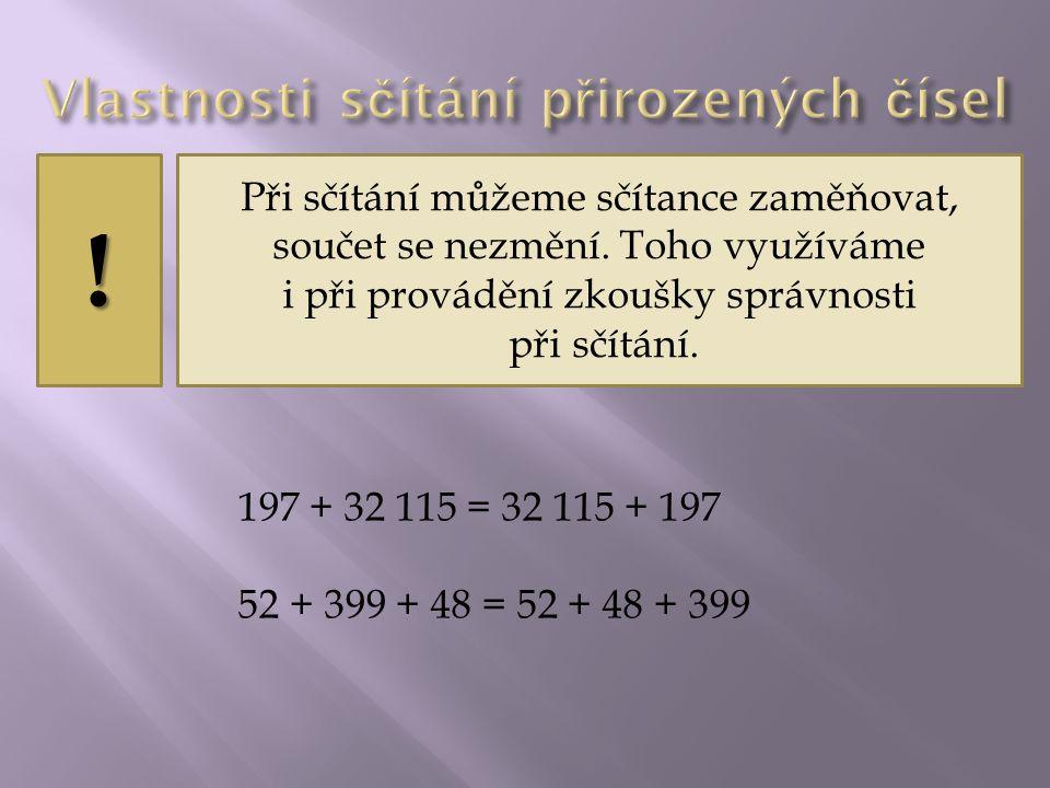 ? Vypočítej: 171 + 29 = 200 29 + 171 = 200 256 + 640 = 896 640 + 256 = 896 13 600 + 900 = 14 500 900 + 13 600 = 14 500