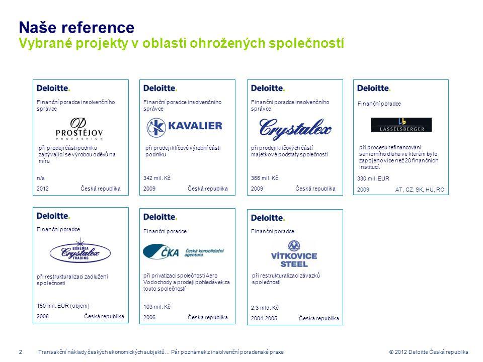 2 © 2012 Deloitte Česká republika Naše reference Vybrané projekty v oblasti ohrožených společností 2009 Finanční poradce insolvenčního správce Česká r