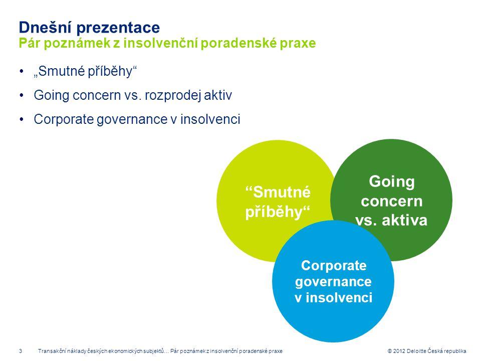 """3 © 2012 Deloitte Česká republika Dnešní prezentace Pár poznámek z insolvenční poradenské praxe """"Smutné příběhy"""" Going concern vs. rozprodej aktiv Cor"""