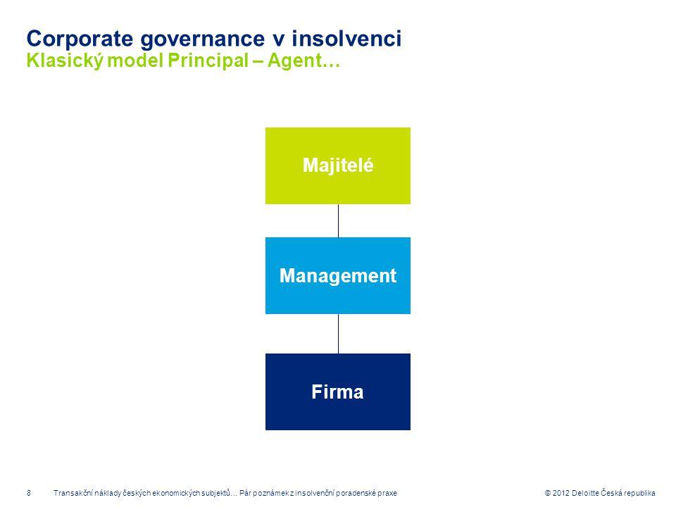8 © 2012 Deloitte Česká republika Corporate governance v insolvenci Klasický model Principal – Agent… MajiteléManagementFirma Transakční náklady český
