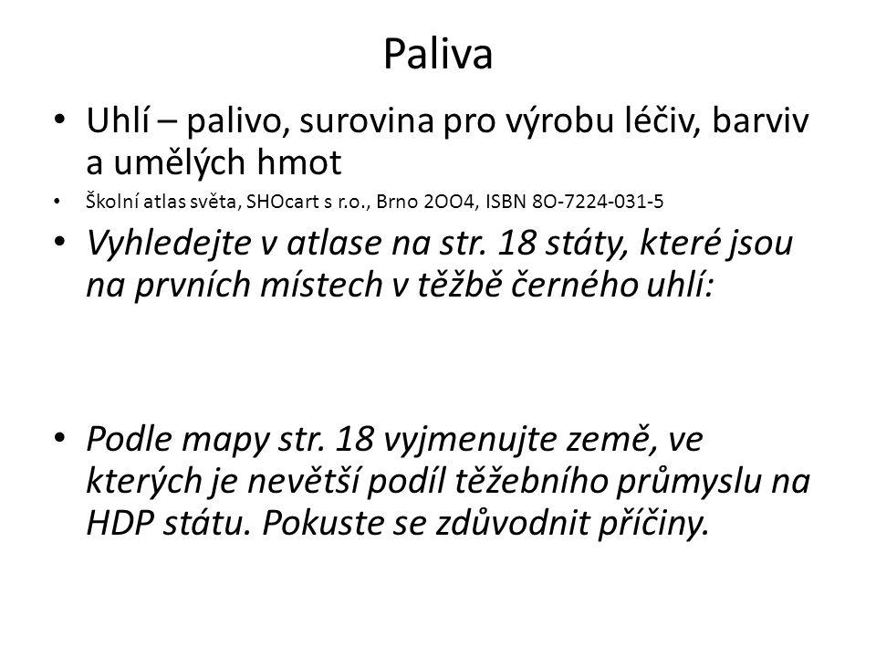 Paliva Uhlí – palivo, surovina pro výrobu léčiv, barviv a umělých hmot Školní atlas světa, SHOcart s r.o., Brno 2OO4, ISBN 8O-7224-031-5 Vyhledejte v