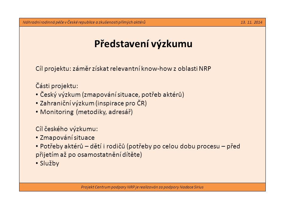 Projekt Centrum podpory NRP je realizován za podpory Nadace Sirius Design a metodologie Široké pojetí – zahrnutí dětí, náhradních rodičů, zástupců OSPOD a NNO Zahrnutí různých období systému NRP (1993 – 98, 1999 – 2012, od 2013) Všechny části realizovány v roce 2013 až 2014 Kontext a možnosti systému: Právní analýza systému NRP v ČR Omnibusové šetření v populaci ČR (postoje k NRP) Přehled realizovaných výzkumů v ČR z oblasti NRP Potřeby aktérů: Rozhovory s náhradními rodiči Rozhovory s dětmi v náhradní péči Náhradní rodinná péče v České republice a zkušenosti přímých aktérů 13.