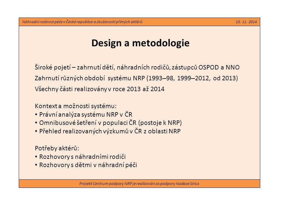 Projekt Centrum podpory NRP je realizován za podpory Nadace Sirius Design a metodologie Služby pro rodiče a děti v náhradní péči: Skupinová diskuse s pracovnicemi OSPOD Skupinová diskuse se zástupci neziskových organizací Jako doplněk (využití příležitosti): Dotazník pracovnicím OSPOD ke službám Analýza dotazníků o dítěti (vedené SNRP) Skupinová diskuse s pěstounskými rodinami v rámci setkání rodin Náhradní rodinná péče v České republice a zkušenosti přímých aktérů 13.