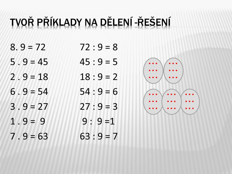 8. 9 = 7272 : 9 = 8 5. 9 = 4545 : 9 = 5 2. 9 = 1818 : 9 = 2 6.