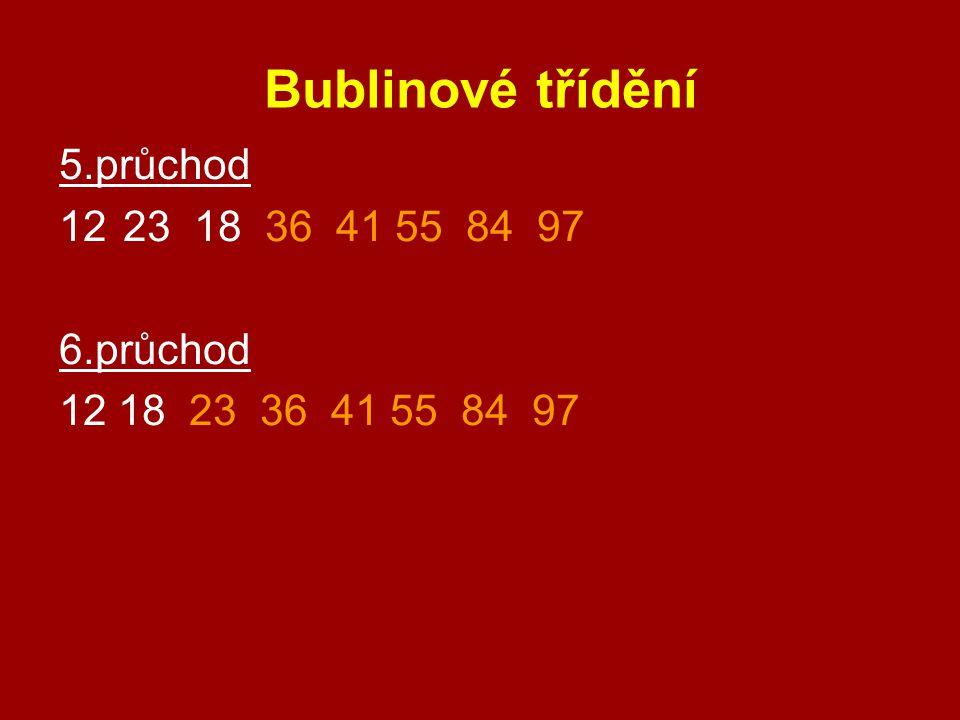 Bublinové třídění 5.průchod 1223 18 36 41 55 84 97 6.průchod 12 18 23 36 41 55 84 97
